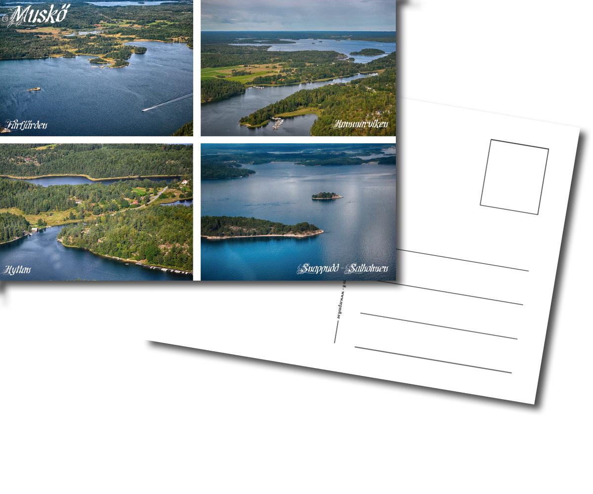 Vykort, Fårfjärden, Hammarviken, Hyttan, Snappudd, Salholmen, Sund