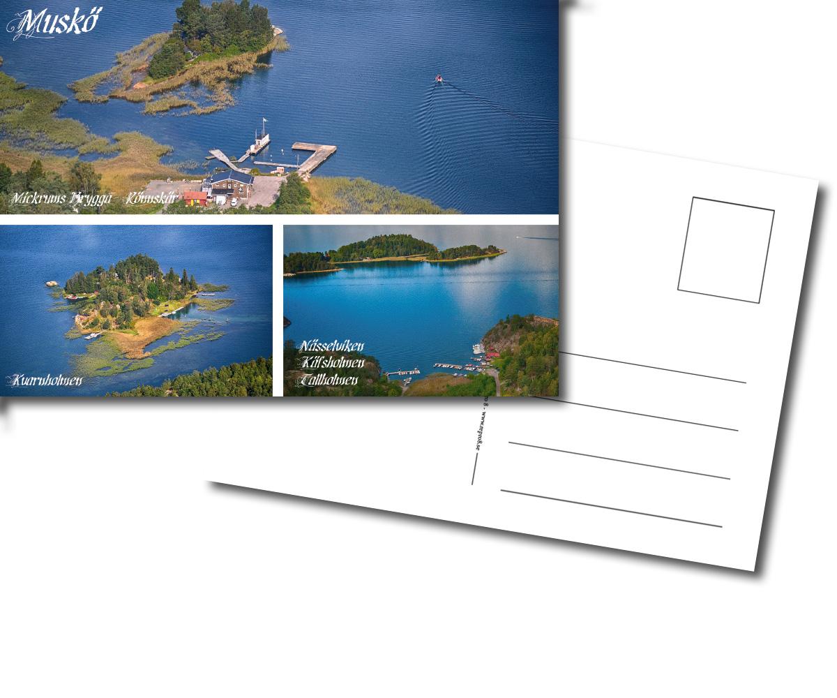 Vykort, Mickrums brygga, Mickrum, Rönnskär, Kvarnholmen, Nässelviken, Käfsholmen, Tallholmen